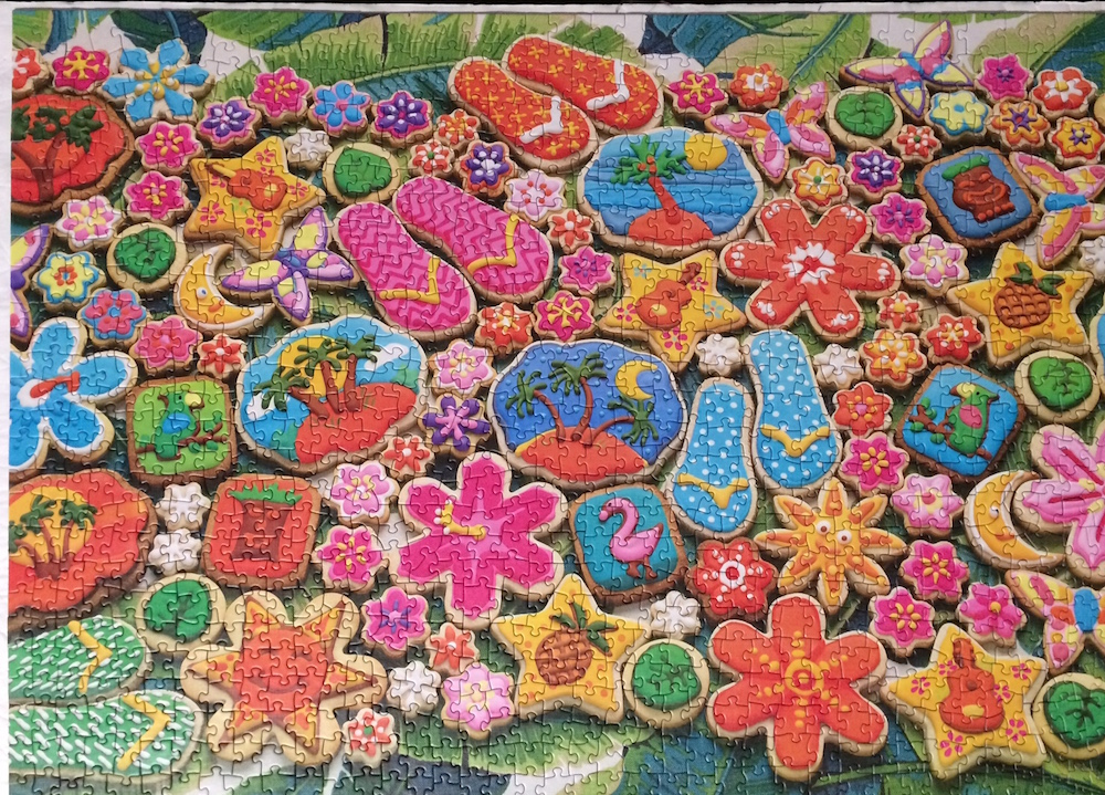 Brand: Cobble Hill Puzzle Company Short Title: Tropical Cookies Puzzle Pieces: 1000 Size: 19.25x26.625 or 49x68cm