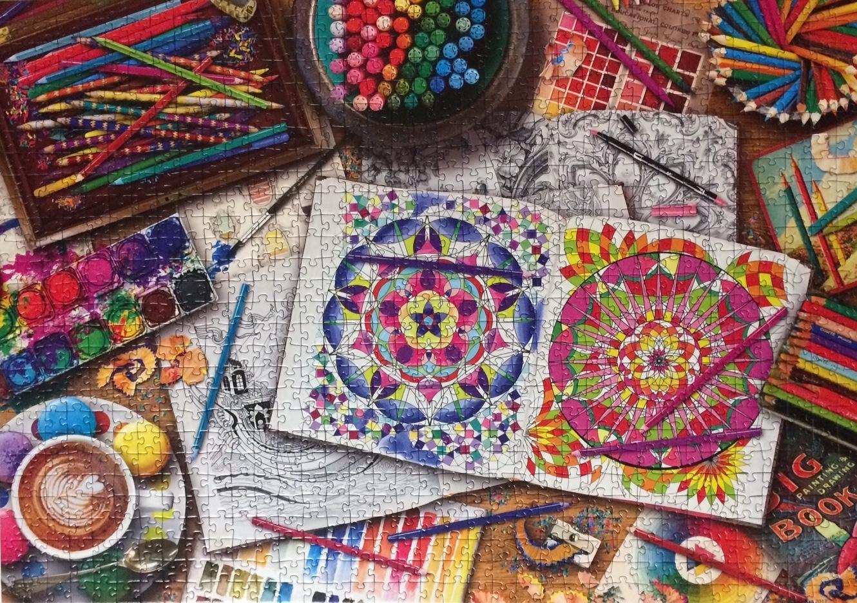 Brand: Ravensburger  Title: Artists Desk jigsaw puzzle  Artist: Aimee Stewart  Pieces: 1000  Size: 27 x 20
