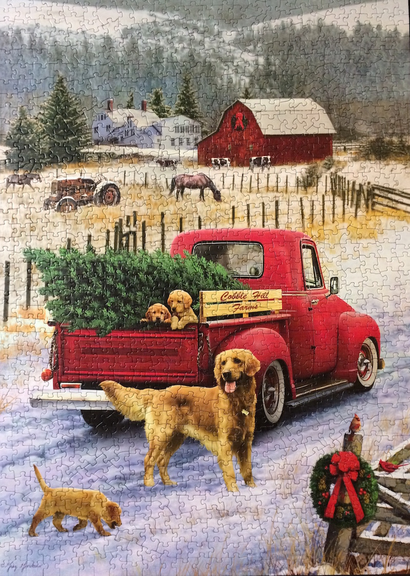 Brand: Cobble Hill Puzzle Company  Title: Christmas on the Farm Puzzle  Artist: Greg Giordano   Size: 26.6x19.25   Pieces: 1000 pieces