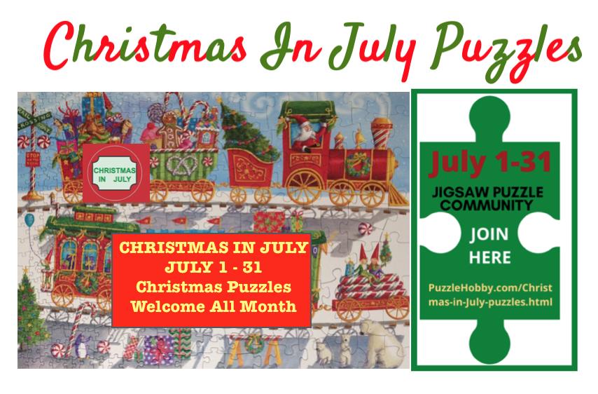 Brand: Cobble Hill Puzzle Company  Title: Christmas Train  Artist: Ingrid Slyder   Size: 26.6x19.25   Pieces: 350 pieces