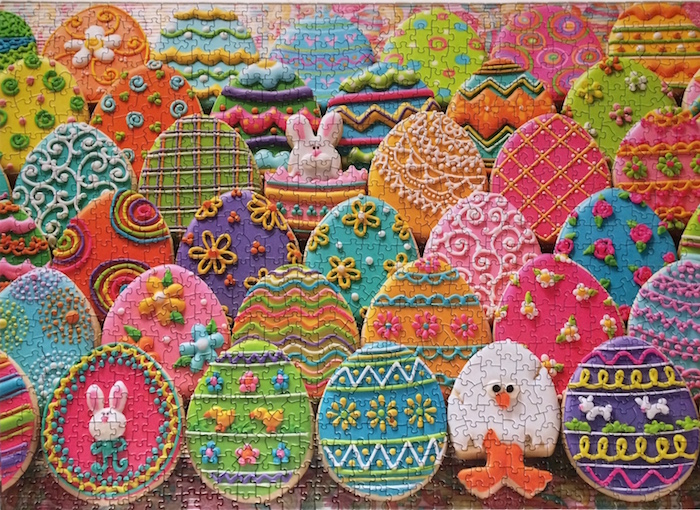Easter Eggs jigsaw puzzle. The attention to detail does tend to make the image a tad challenging but not enough to take away the enjoyment. Makes for great brain therapy.