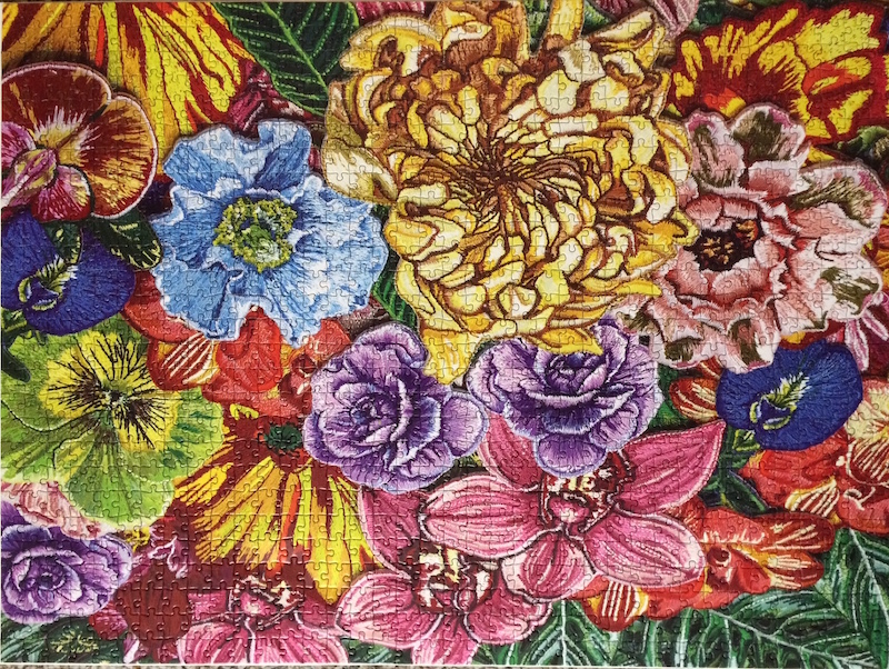 Brand: Puzzle So Hard  Title: Flower Patches jigsaw puzzle  By: Danielle Clough  Pieces: 1000  Size: 20