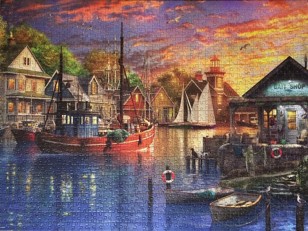 Brand: Cardinal Puzzles  Title:  American Harbour Sunset puzzle  Artist: Dominic Davison  Pieces: 1000  Size: 20 x 27