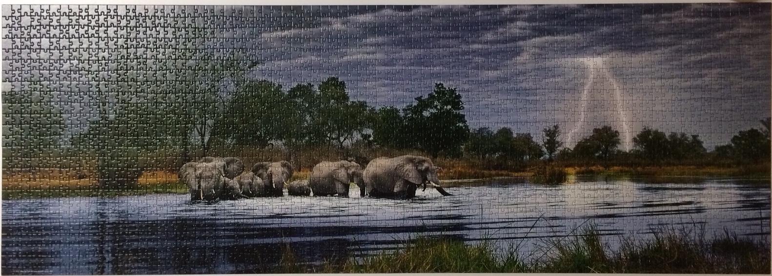 Brand: Heye, Panorama, 2012  Title: Herd of Elephants puzzle  Size: 54