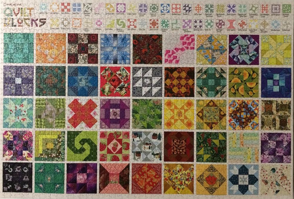 Brand: Cobble Hills Puzzle Company Title:  Quilt Blocks Artist: Cobble Hills Creations Pieces: 2000 Size:  26.625″ x 39.25