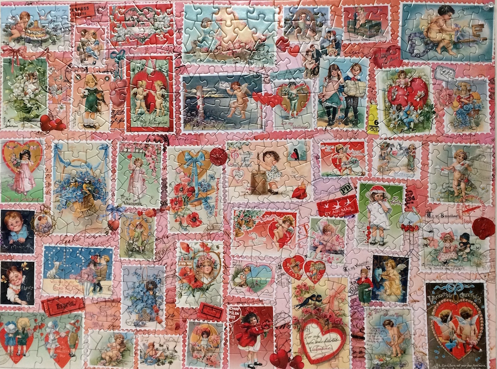 Brand: Bits & Pieces  Title: Valentine Stamps Puzzle  By: Barbara Behr  Pieces: 500  Size: 18