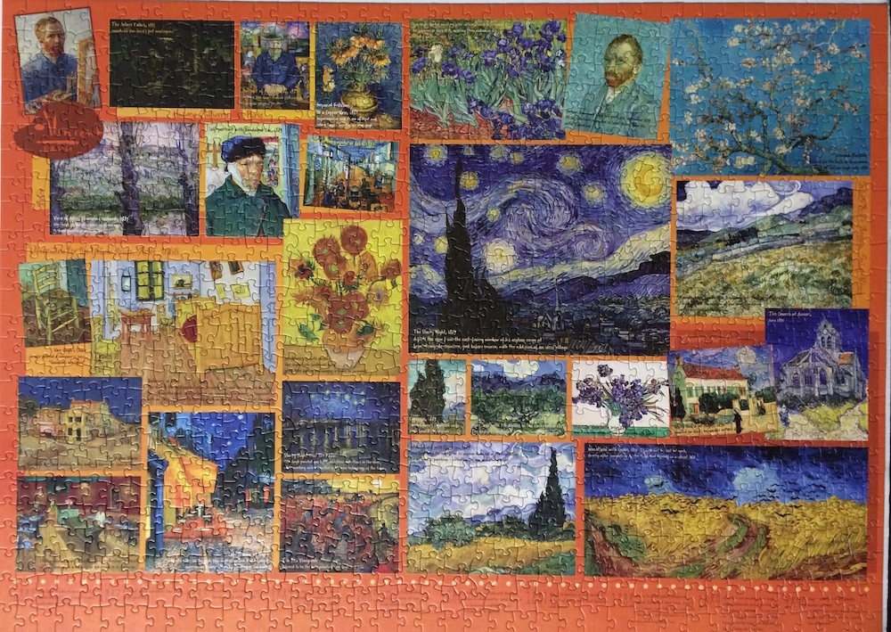 The Van Gogh puzzle is a combination of the artist's most famous prints which are seen as stand-alones in many jigsaw puzzles.