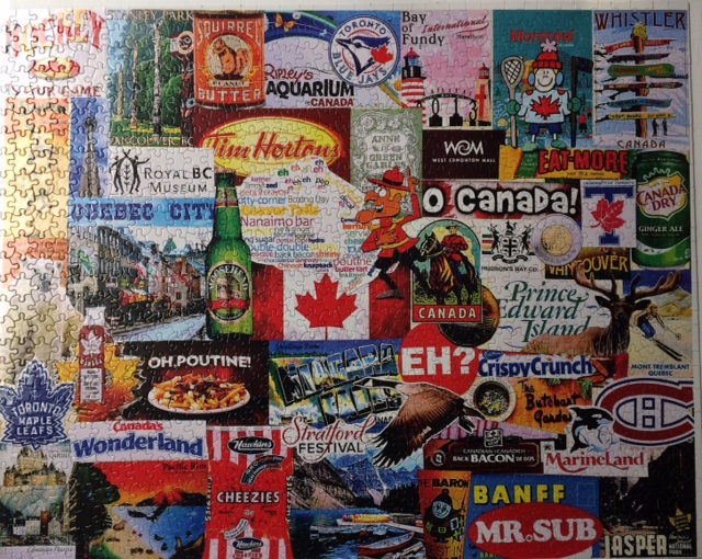 Brand: White Mountain Jigsaw Puzzles, Title: I Love Canada, Artist: Charlie Girard, Pieces: 1000, Size: 24