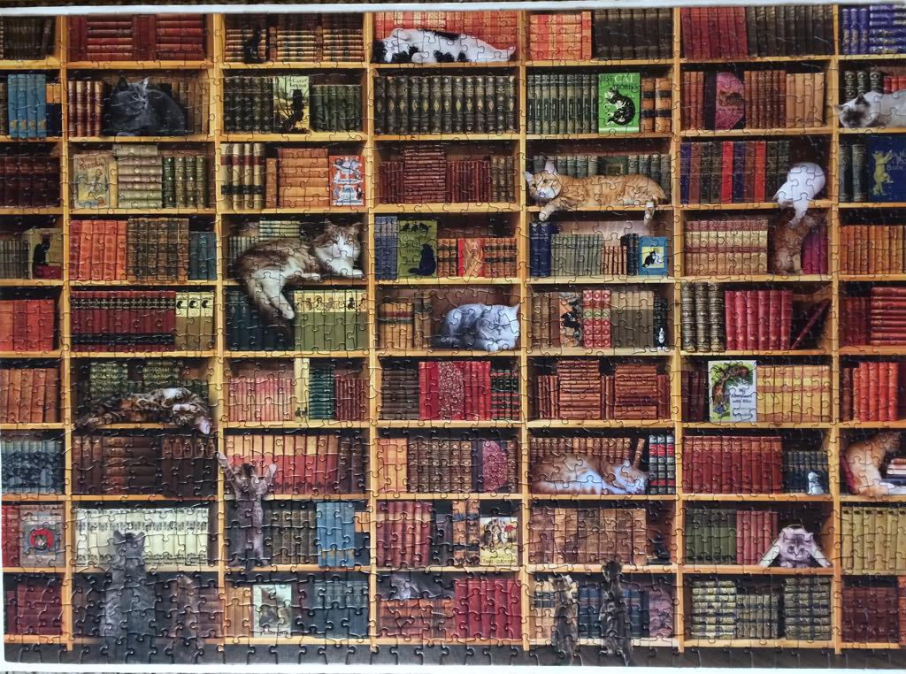 Brand: Cobble Hills Puzzle Company, Title: The Cat Library, By: Cobble Hills Creations at Russell Books, Pieces: 1000, Size: 48.9 x 67.6cm or 19.25 x 26.625″