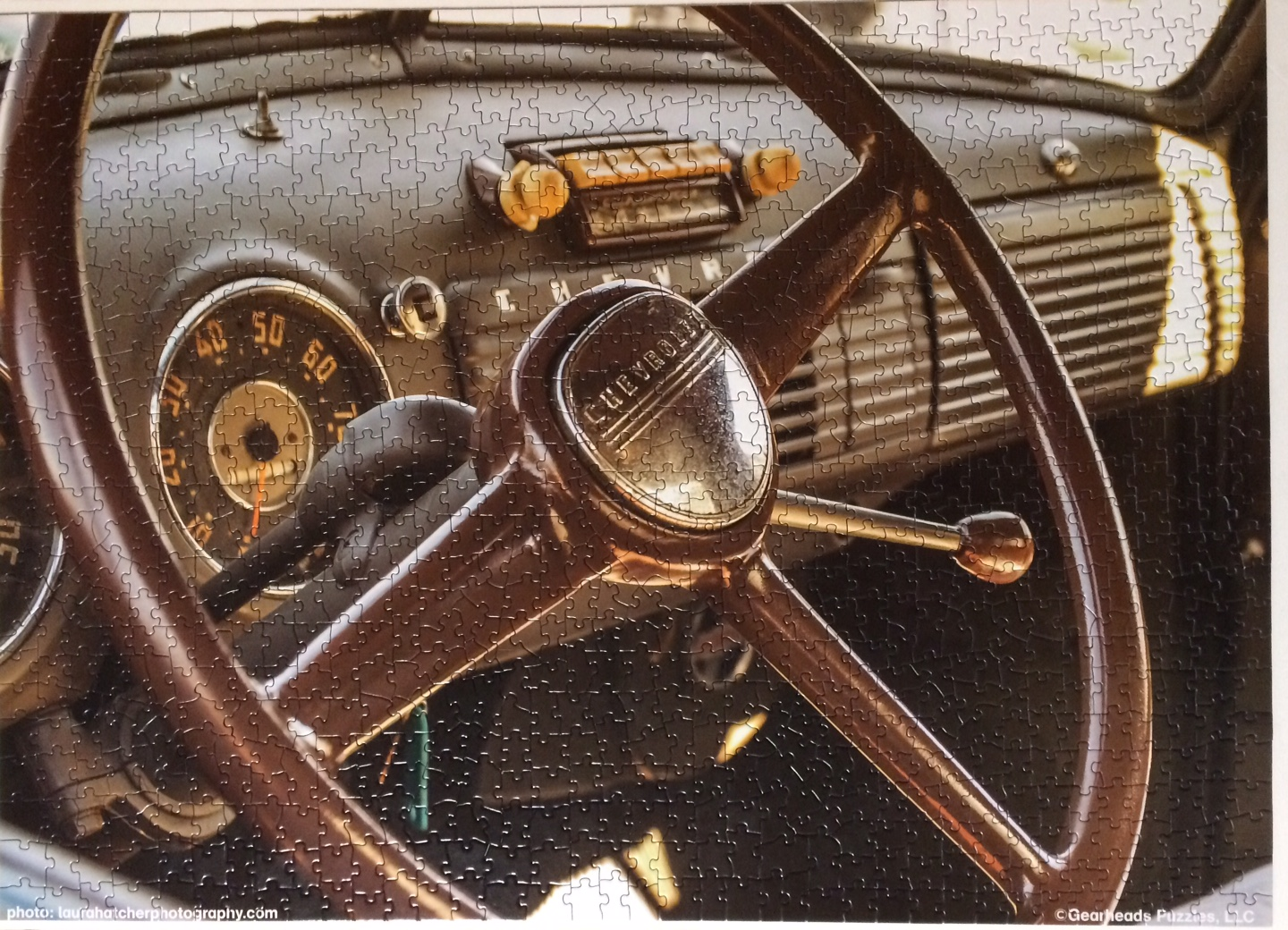 Brand: Gearheads Puzzle Shop, Title: Chevy Gold, By: Laura Hatcher, Pieces: 1000, Size: 26.625