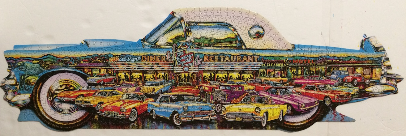 Brand: Great American Puzzle Factory, Title: Cruisin' Classics, Artist: Lewis T. Johnson, Pieces: 500+, Size: 36