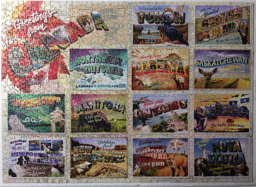 Brand: Cobble Hill Puzzle Company, Title: Greetings From Canada, Pieces: 1000, Size: 26.625