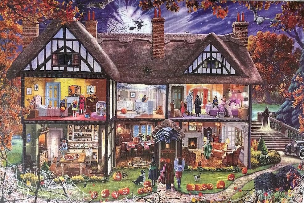 Brand: Unknown  Title: Halloween House jigsaw puzzle  Artist: Steve Crisp  Pieces: 1000  Size: 20