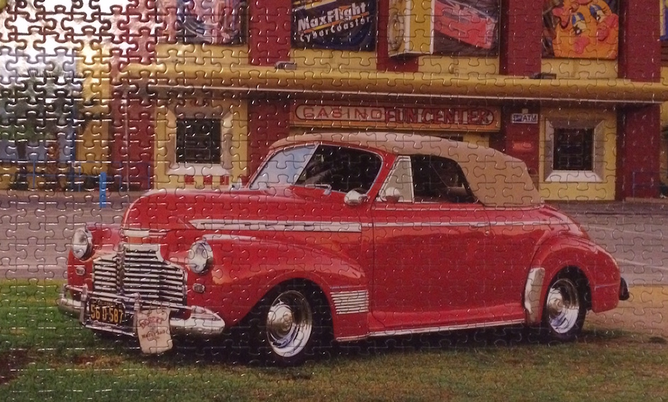 Brand: Puzzlebug, Title: 1941 Red Chev Convertible, Pieces: 500, Size: 18.25 x 11