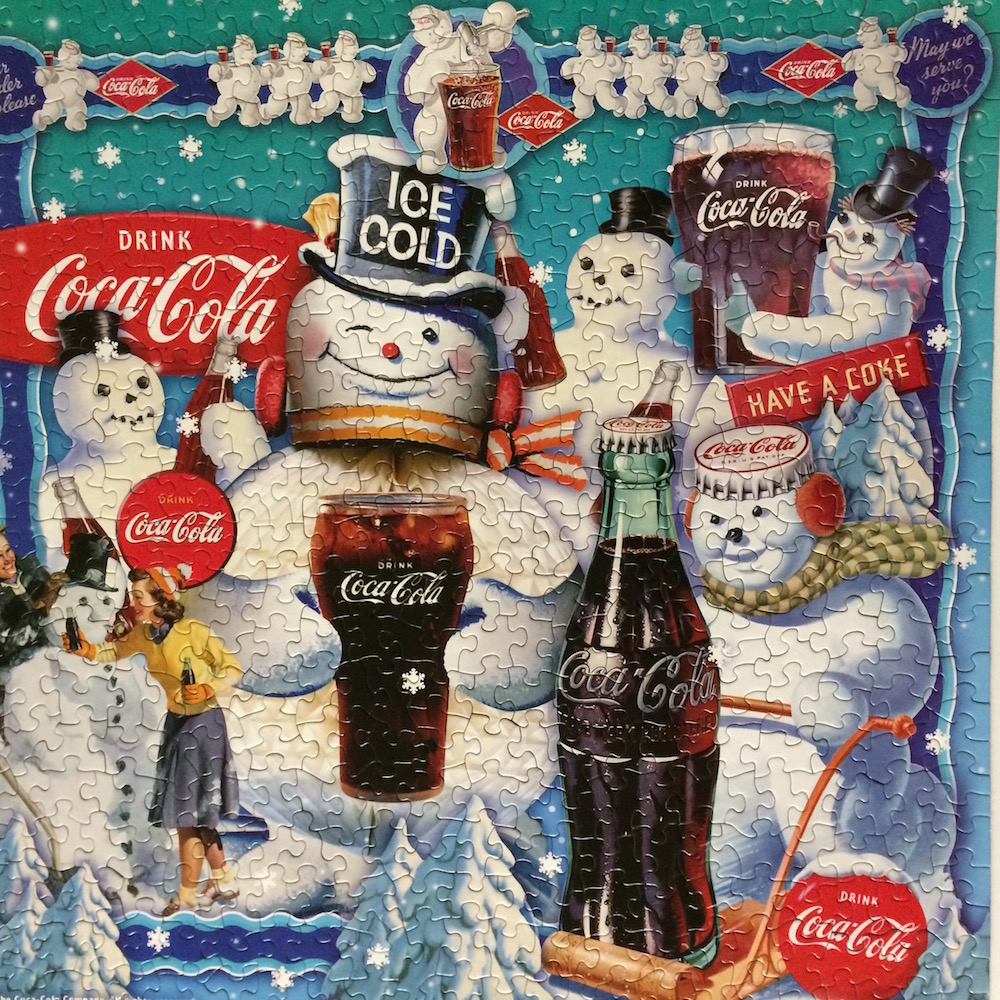Brand: Springbok   Title: Snowman Delight Jigsaw Puzzle  Pieces: 500  Artist: The Coca-Cola Co.  Finished Size: 20