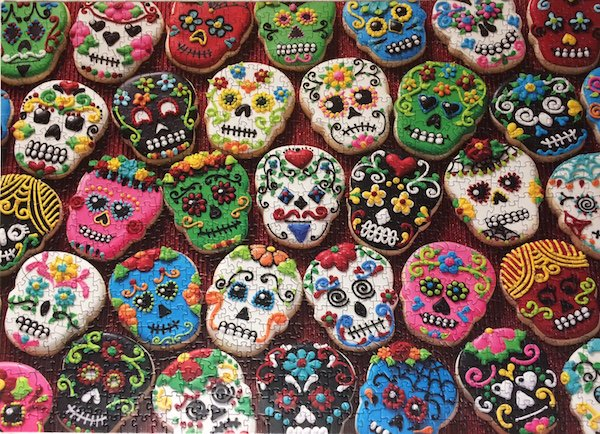 The pieces do fit perfectly smooth together which complement the extremely patient production of these Sugar Skull Cookies to form a terrific jigsaw puzzle for Halloween.
