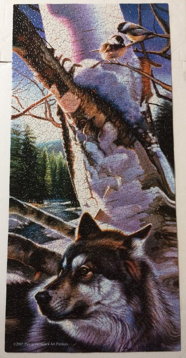 "Brand: Sunsout jigsaw puzzles           Title: Wolf Chickadees jigsaw puzzle Artist:  Daniel Renn Pierce 2005 Size: 16""x34"" Poster-type           Pieces: 1000"